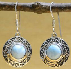 larimar circle and sterling silver filigree earrings