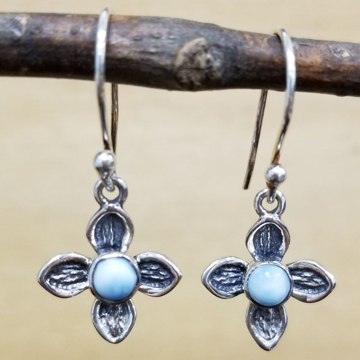 larimar and sterling silver flower dangle earrings