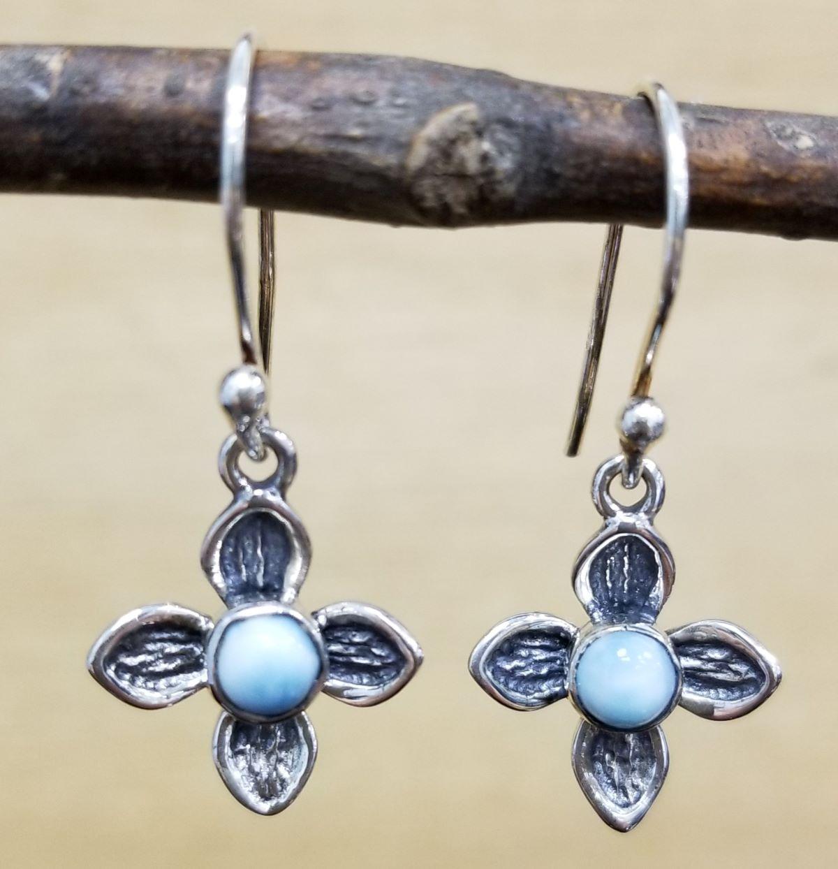 larimar and sterling silver flower dangle earrings