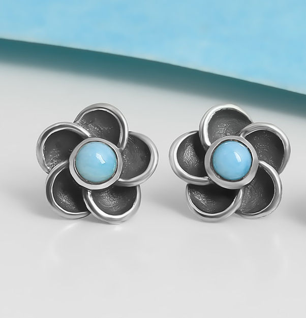 larimar and sterling silver flower post earrings