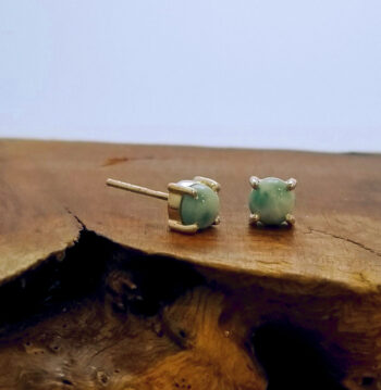 larimar prong set sterling silver post earrings