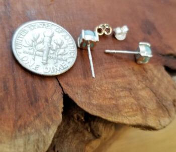 larimar post earrings back with dime for scale