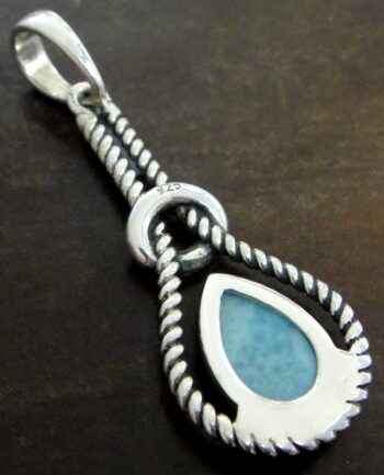 Handmade light blue larimar and sterling silver pendant back view
