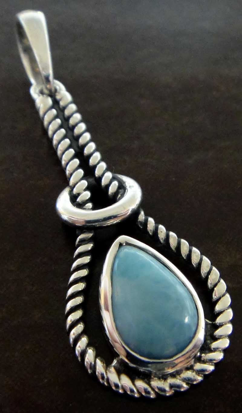 Handmade light blue larimar and sterling silver pendant