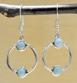 Handmade two-stone larimar and sterling silver dangle earrings