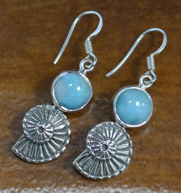 larimar with shell design sterling silver earrings
