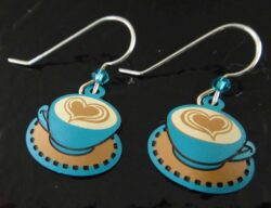These latte earrings are handmade by Sienna Sky and feature a heart drawn in the latte foam.