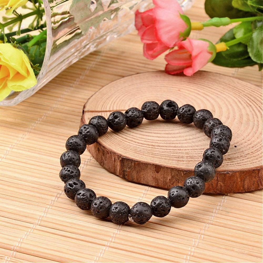 lava rock beaded stretch bracelet