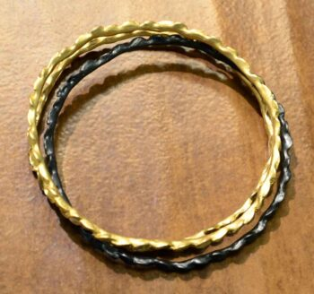 Second Nature jewelry bronze leaf bangle set top view