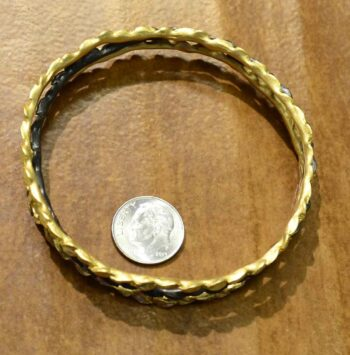 Second Nature jewelry bronze leaf bangle set