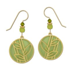 green and goldtone leaf earrings by Adajio