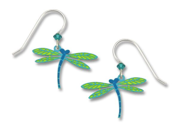 blue and light green dragonfly earrings by Sienna Sky