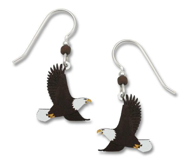 Bald Eagle earrings with sterling silver ear-wire