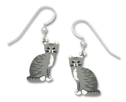 gray and white cat earrings