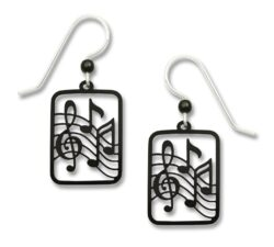 music lover earrings featuring treble and notes