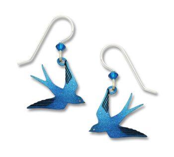 blue flying swallow bird earrings by Sienna Sky