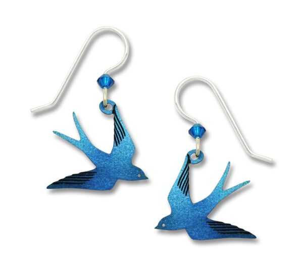 blue flying swallow bird earrings by Sienna Sky