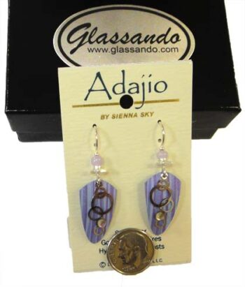 Adajio purple shield dangle earrings by Barbara MacCambridge