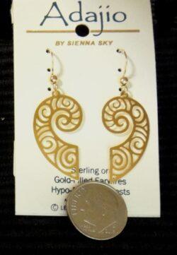 Goldtone swirl pattern Adajio dangle earrings