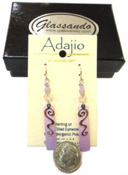 Adajio pink and purple dangle earrings by Barbara MacCambridge