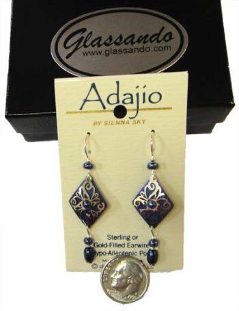 Dark Blue and silvertone swirl adajio earrings