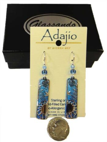 light blue Adajio sun earrings with dime