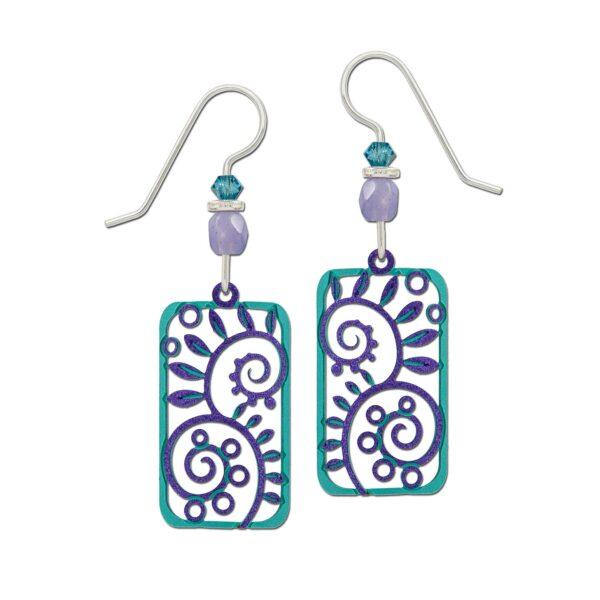 purple and teal Adajio earrings