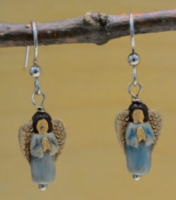 handmade light blue ceramic angel dangle earrings