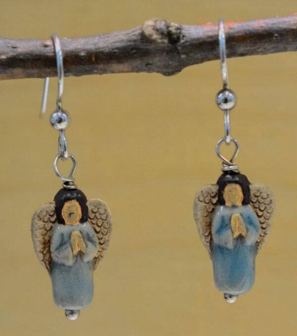 handmade light blue ceramic angel dangle earrings