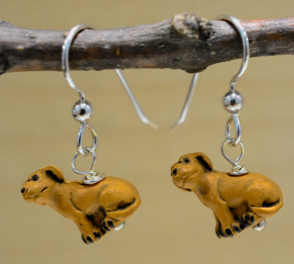 handmade ceramic light brown dog beaded earrings