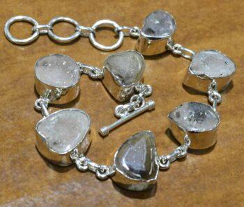 handmade geode druzy bracelet with sterling silver