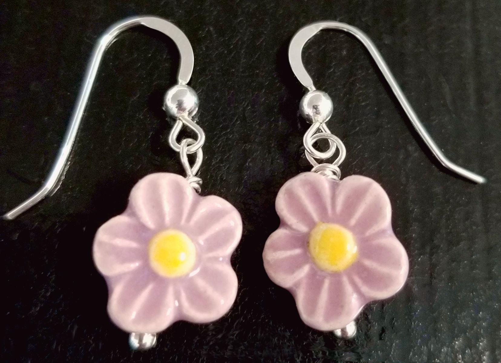 light purple and yellow ceramic daisy earrings