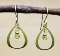 petite lime green beaded earrings