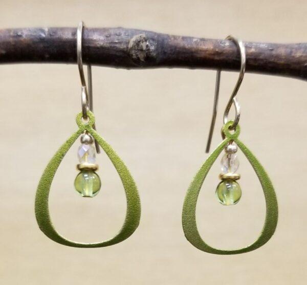 petite lime green beaded earrings