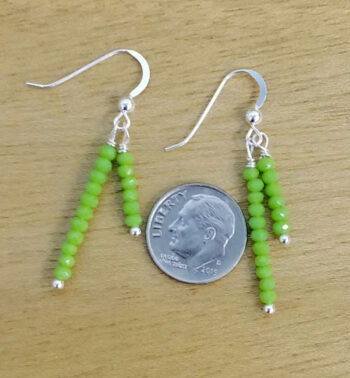 lime green beaded earrings with dime for scale