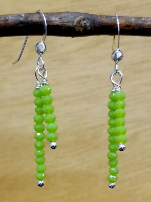 lime green beaded dangle earrings