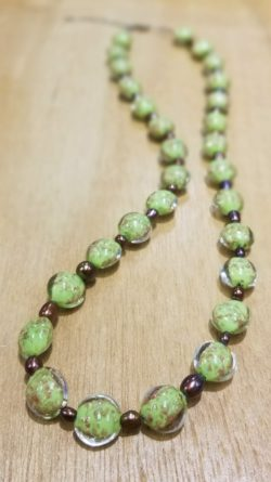 lime green Murano glass and chocolate pearl necklace