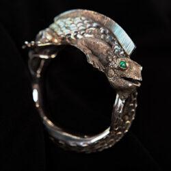 Handmade detailed sterling silver iguana cuff statement bracelet