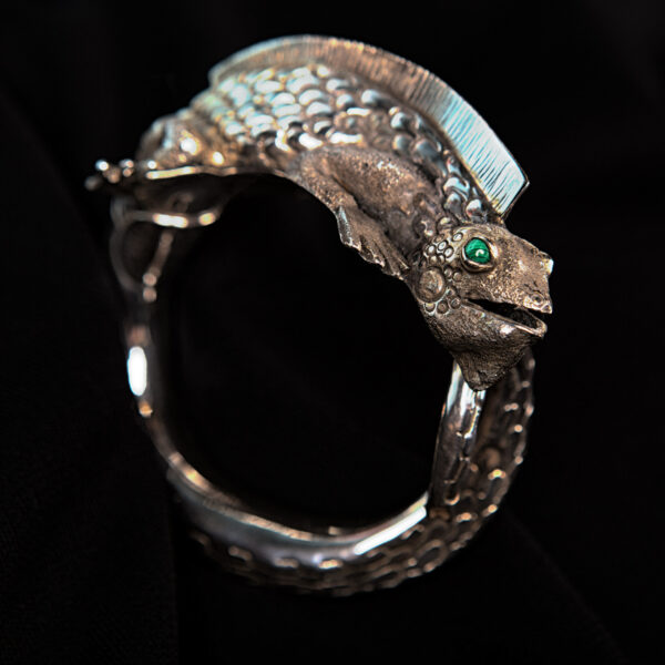 Handmade detailed sterling silver iguana cuff statement bracelet