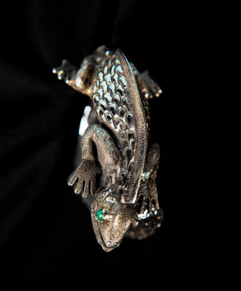 Handmade detailed sterling silver iguana cuff statement bracelet top view