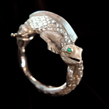 Handmade detailed sterling silver iguana cuff statement bracelet from Taxco, Mexico
