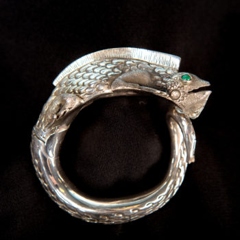 Handmade detailed sterling silver iguana cuff statement bracelet side view