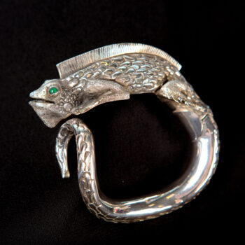 Handmade detailed sterling silver iguana cuff statement bracelet side view