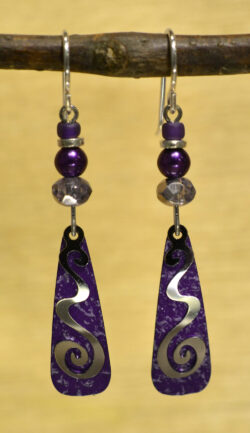 purple and silvertone swirl and bead design earrings