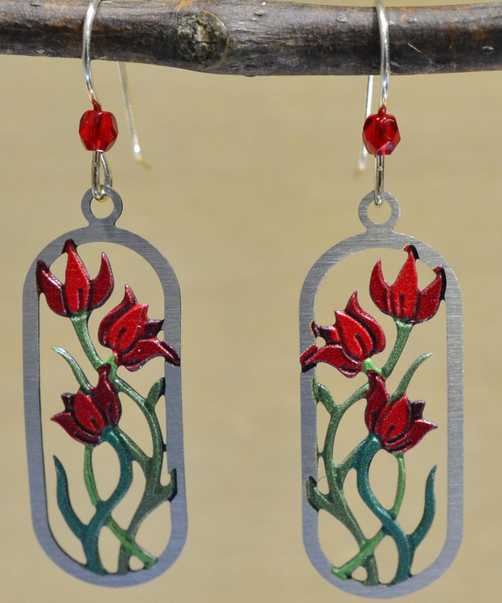 sienna sky red flower dangle earrings