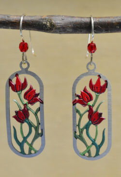 sienna sky red flower dangle earrings