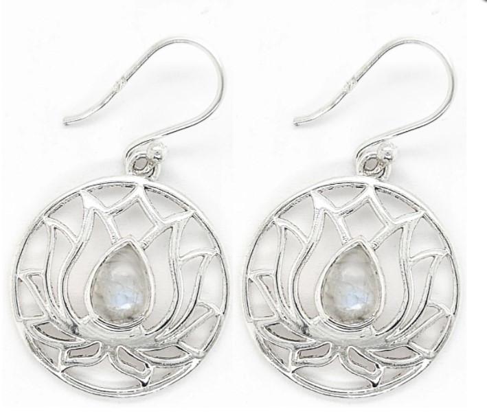 Rainbow Moonstone and sterling silver lotus flower earrings