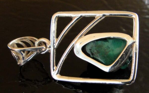 Green Malachite and sterling silver pendant back view