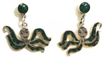 handmade sterling silver and malachite octopus earrings