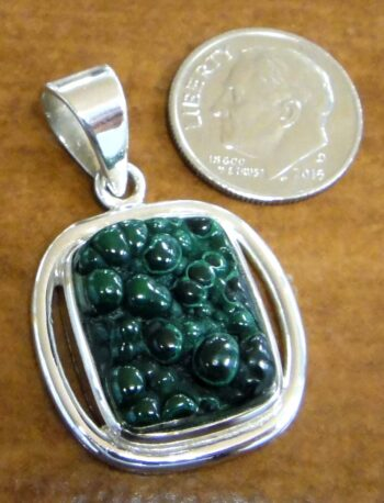 Raw green malachite and sterling silver pendant